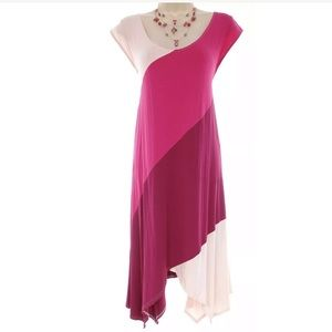 14/16 1X▪️COLORBLOCK ASYMMETRICAL DRESS Plus Size